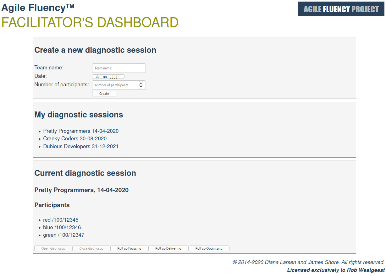 AFP facilitator's dashboard April 2020