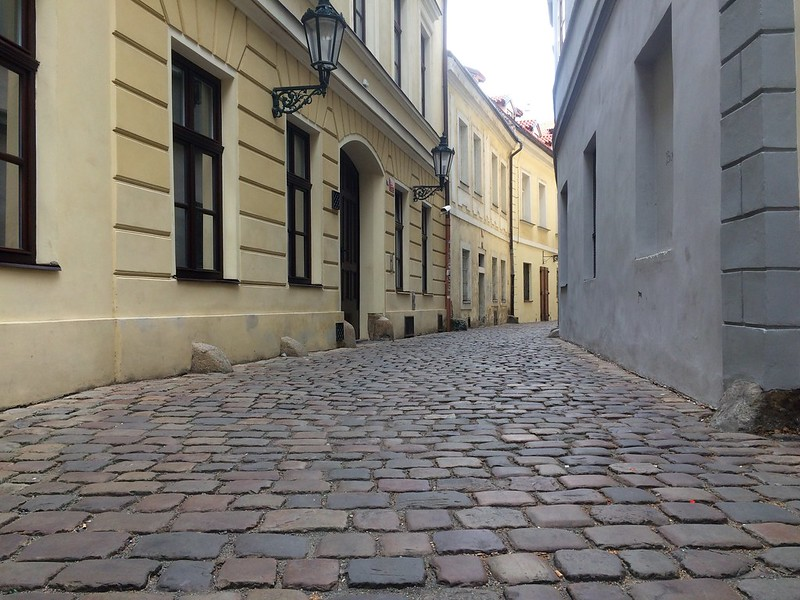 "cobblestone road, by zebulon.walton, ""A narrow street in France"""