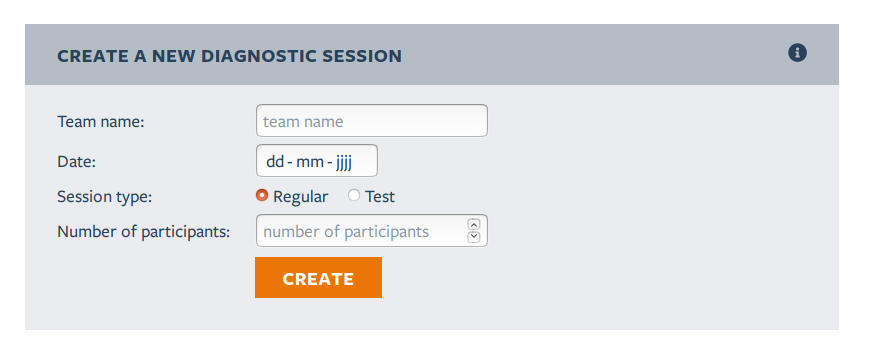 Screenshot: 'Create a new diagnostic session' heading, fields for team name, date, session type (regular or test) and a drop-down for the number of participants. The call to action button is 'Create'